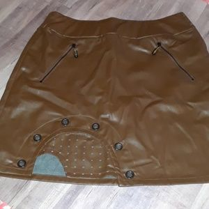 Jamie Sadock faux leather skirt Equestrian Brown